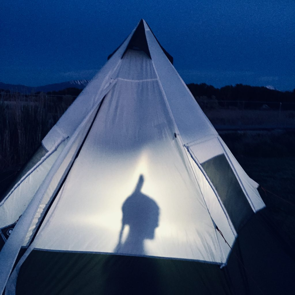 Tent with silhouette