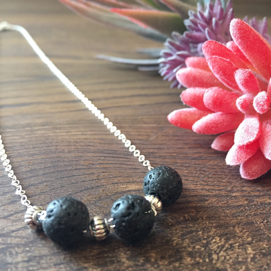 Three Lava Rock Necklace